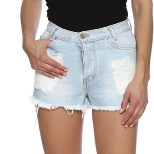 John Gault Light Wash Denim Distressed Jean Shorts